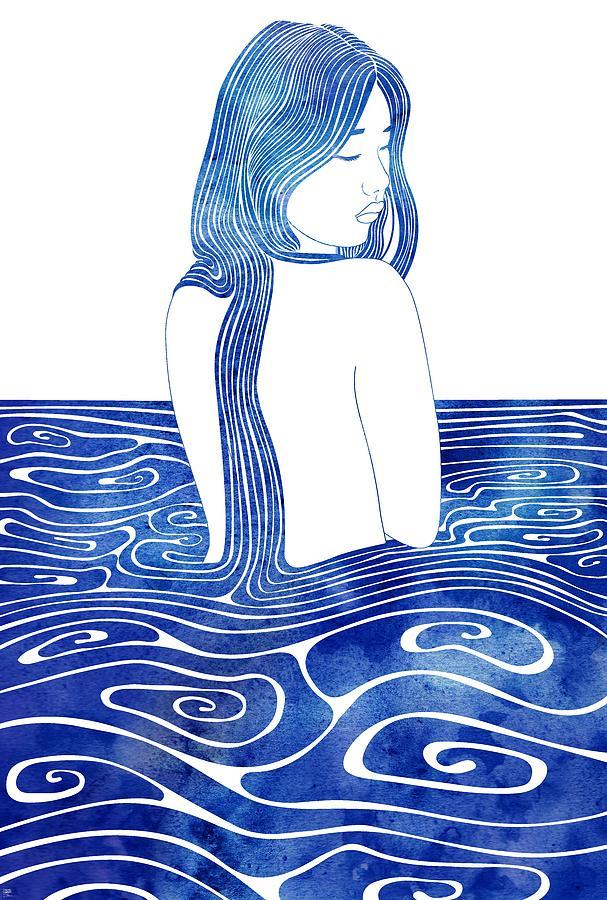 Aqua Mixed Media - Euagore by Stevyn Llewellyn