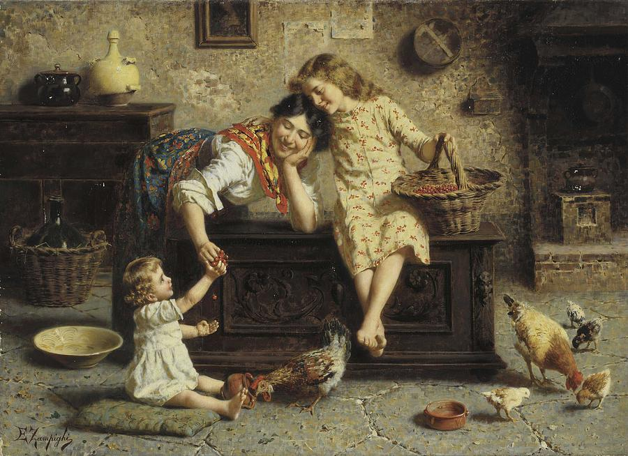Baby Painting - Eugenio Edouardo Zampighi  Italian, 1855-1944  A Treat For Baby by Celestial Images