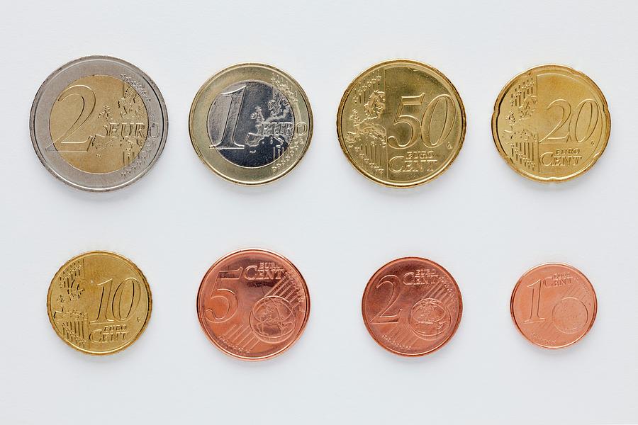Euro Coins Arranged In Numerical Order Photograph by Caspar Benson