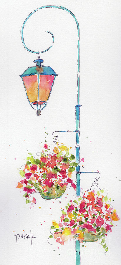 Euro Street Lamp With Flower Baskets by Pat Katz