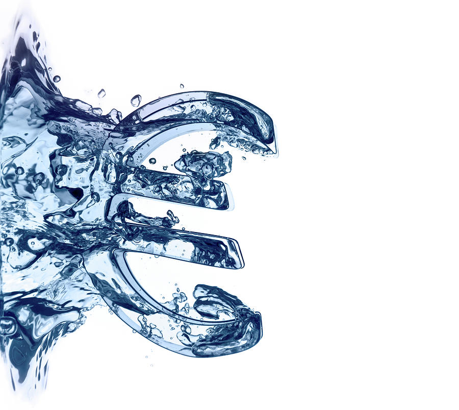 Euro Symbol Plunging Into Blue Water Photograph by Ted Stewart Photography
