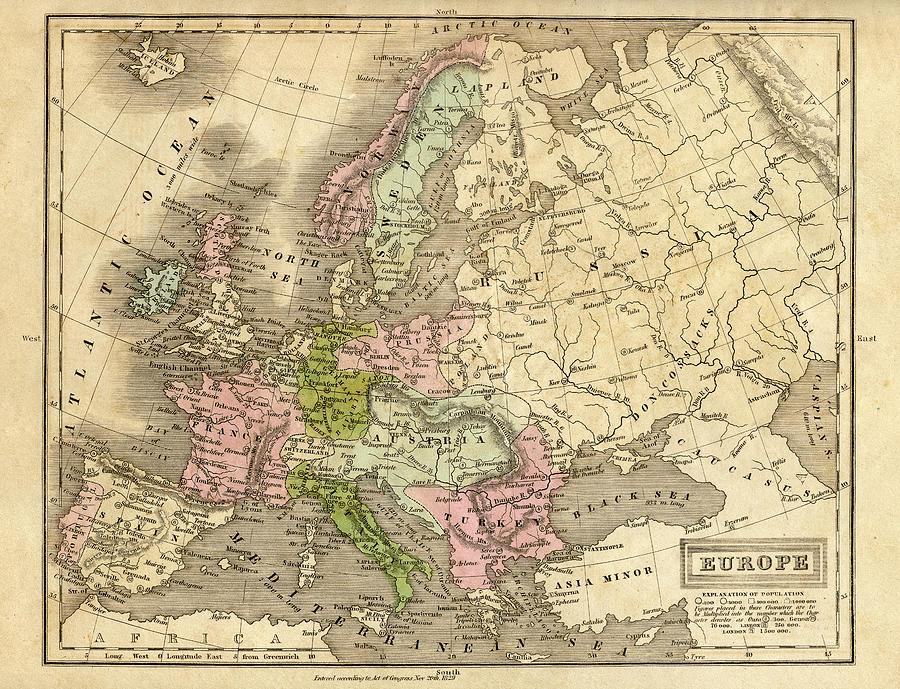 Europe Map 1829 Digital Art by Thepalmer