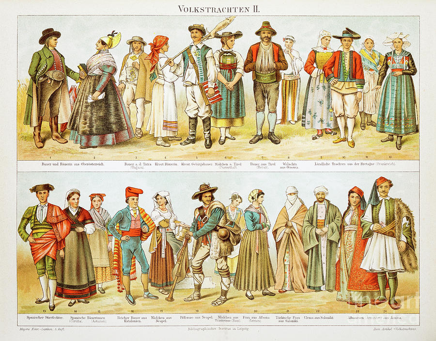 European Costumes Lithograph 1897 Digital Art by Thepalmer