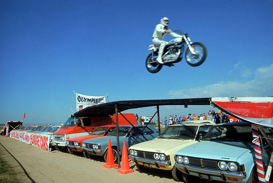 Evel Knievel In Flight Photograph by Ralph Crane