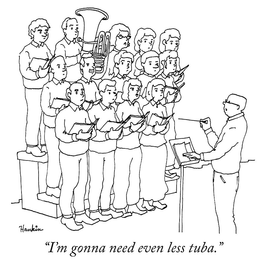 Even Less Tuba Drawing by Charlie Hankin