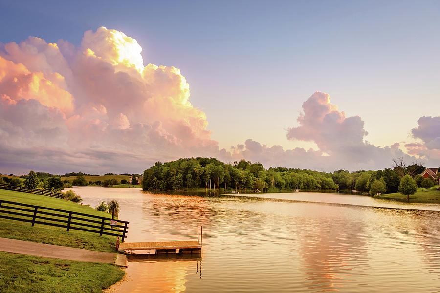 America Photograph - Evening At A Lake In Central Kentucky by Alexey Stiop