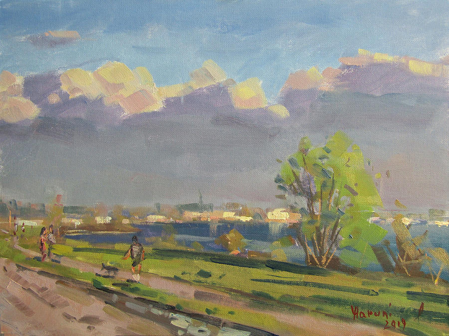 Evening Painting - Evening At Gratwick Waterfront Park by Ylli Haruni