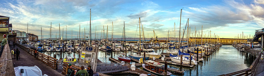 Evening at Pier 39 Marina Panorama by Greg Reed