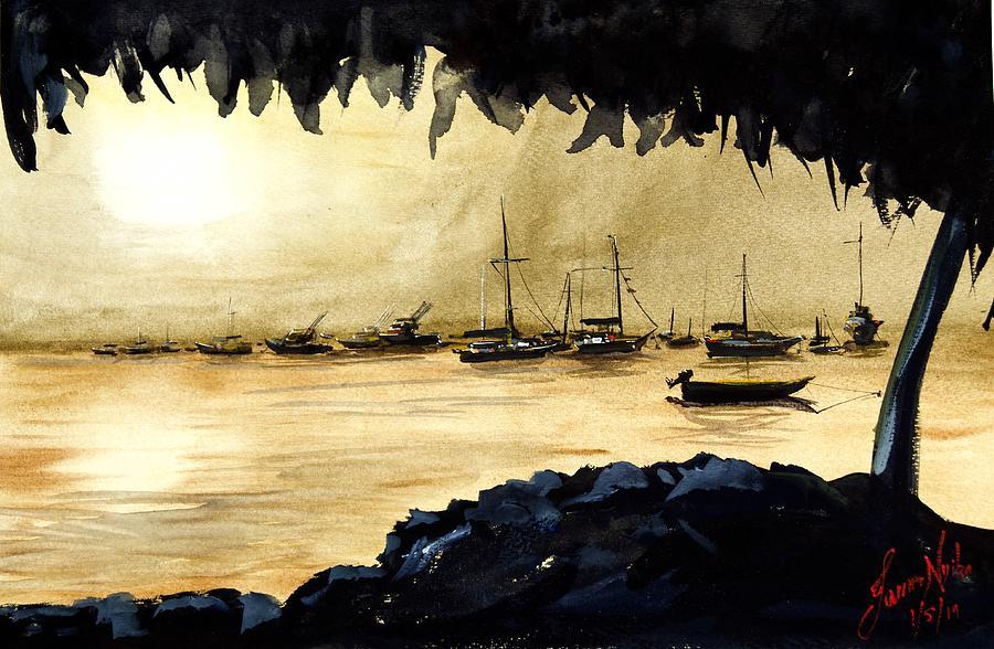 Sunset Painting - Evening, Deshaies Harbor, Guadaloupe by James Nyika