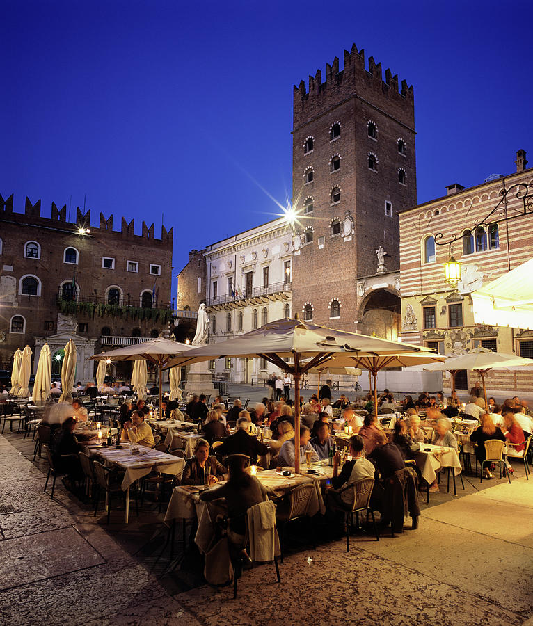 Evening Dining In The Old Town, Verona Photograph by Stuart Black / Robertharding