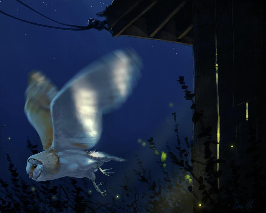 Owls Digital Art - Evening Ghost - Barn Owl by Aaron Blaise