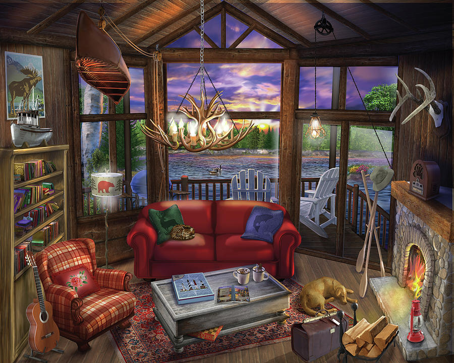 Interior Painting - Evening In The Cabin by Bigelow Illustrations