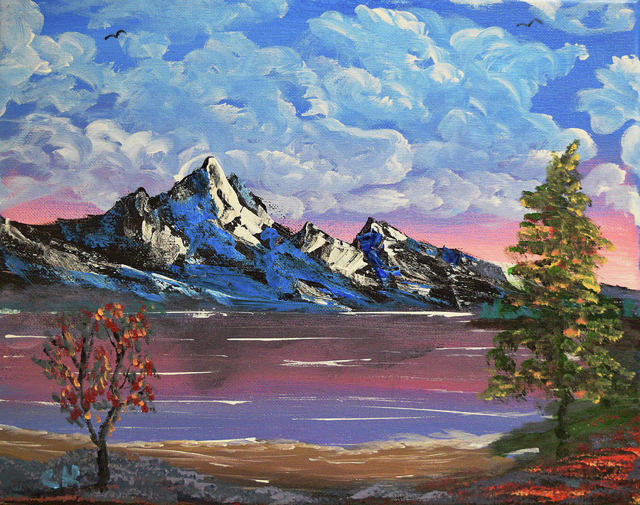 Mountains Painting - Evening Lake Wonder by Chance Kafka
