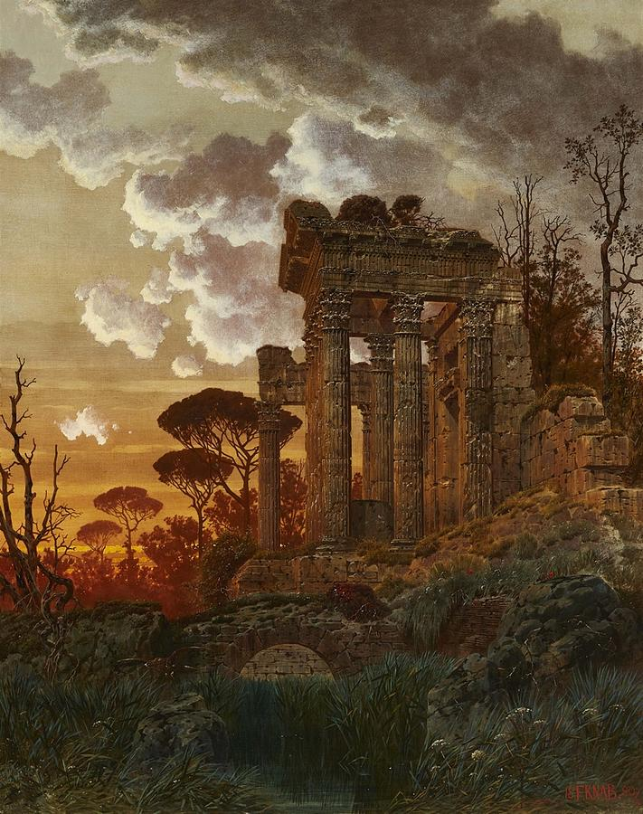 Evening Landscape with Ancient Temple Ruins by Ferdinand Knab
