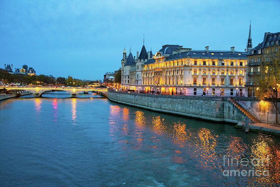 Evening on the Seine River Paris France by Wayne Moran