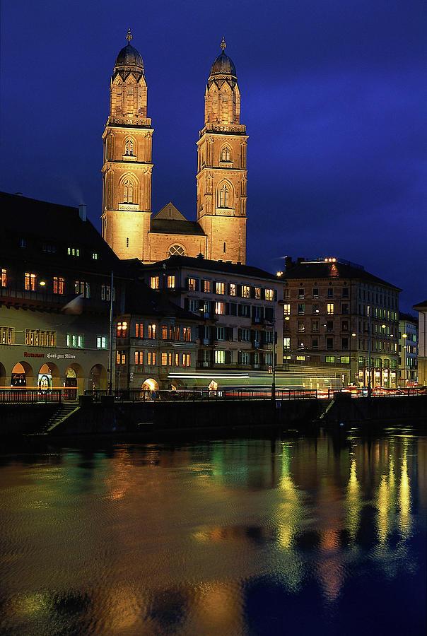 Evening, River Limmat, Zurich Photograph by Walter Bibikow