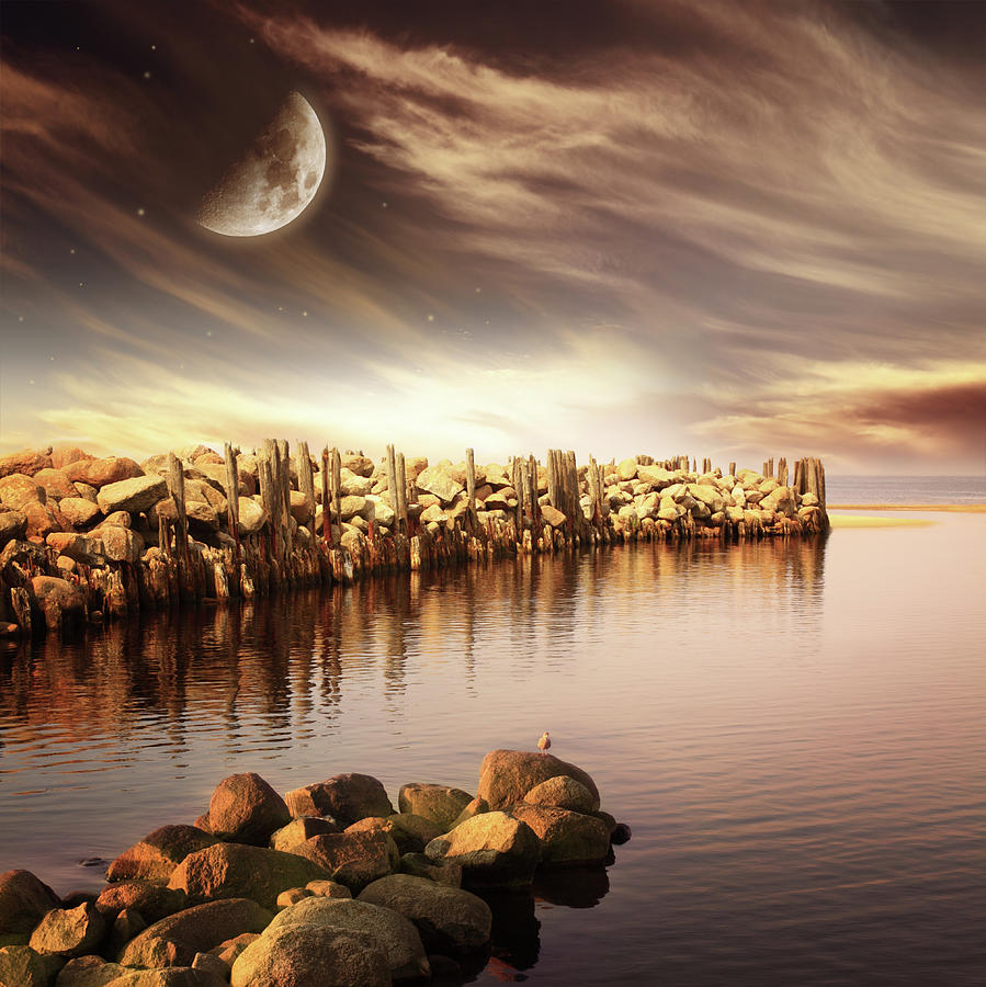 Evening Sea Landscape With Moon Photograph by O-che