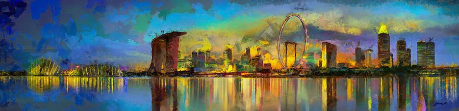 Evening skyline in Singapore by DAWEArt