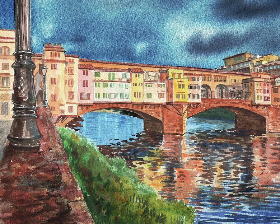 Evening Sun In Florence Ponte Vecchio  by Irina Sztukowski