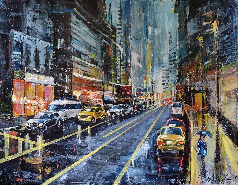 Evening Painting - Evening Traffic by Stefano Popovski