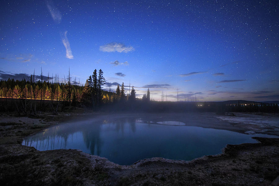 Horizontal Photograph - Evening Twilight Above A Spring by Jeff Dai