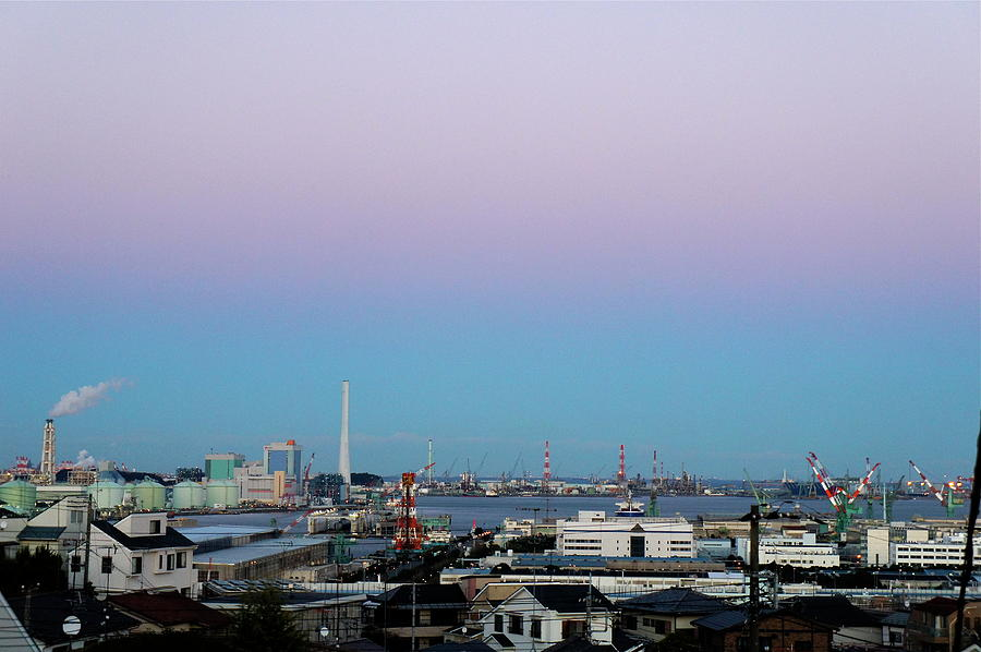 Evening View Of Yokohamas Industrial Photograph by Kana hata