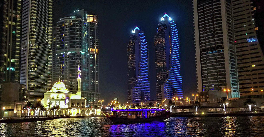 Evening Waterfront Scene, Dubai Marina, Dubai, United Arab Emirates by Jamie Baldwin
