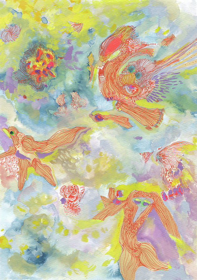 Dance Painting - Everyone Dances In My Garden #ss19dw001  by Satomi Sugimoto