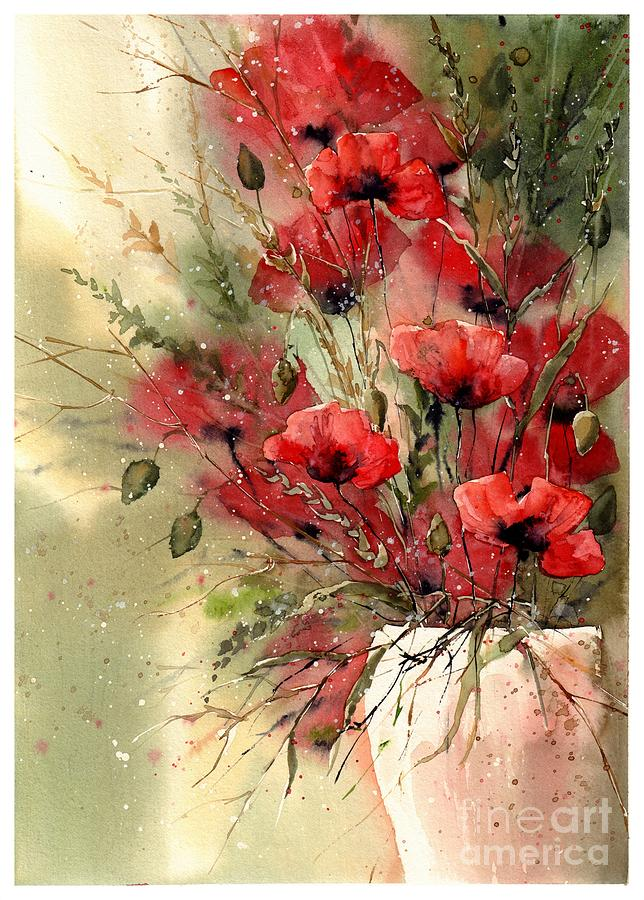 Red Painting - Everything About Poppies I by Suzann Sines