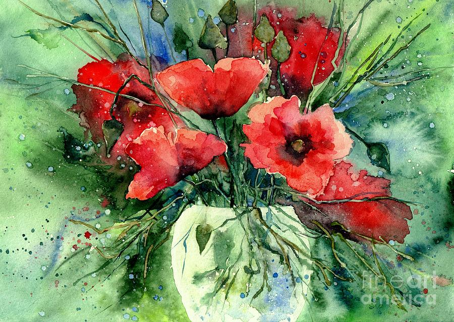 Red Flowers Painting - Everything About Poppies IV by Suzann Sines