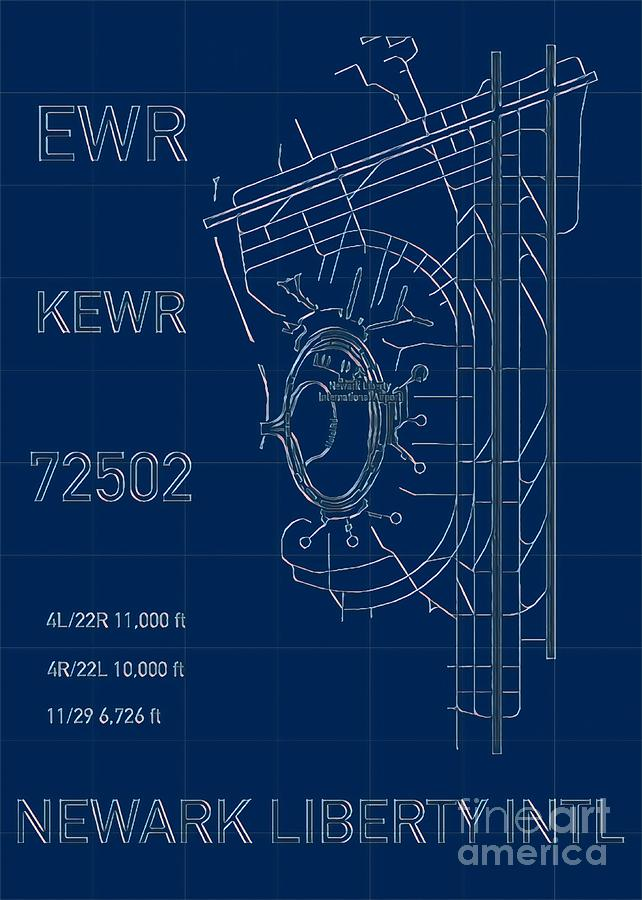 EWR Newark Liberty Airport Blueprint Light by HELGE