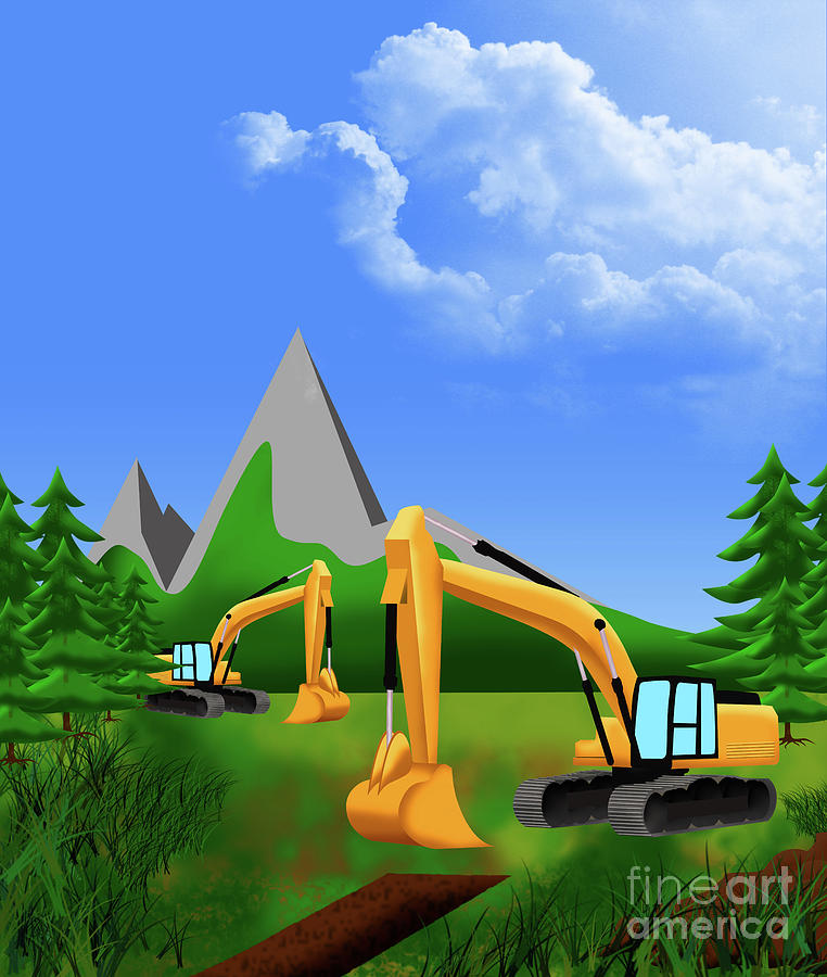 Excavator at work by Fabian Roessler