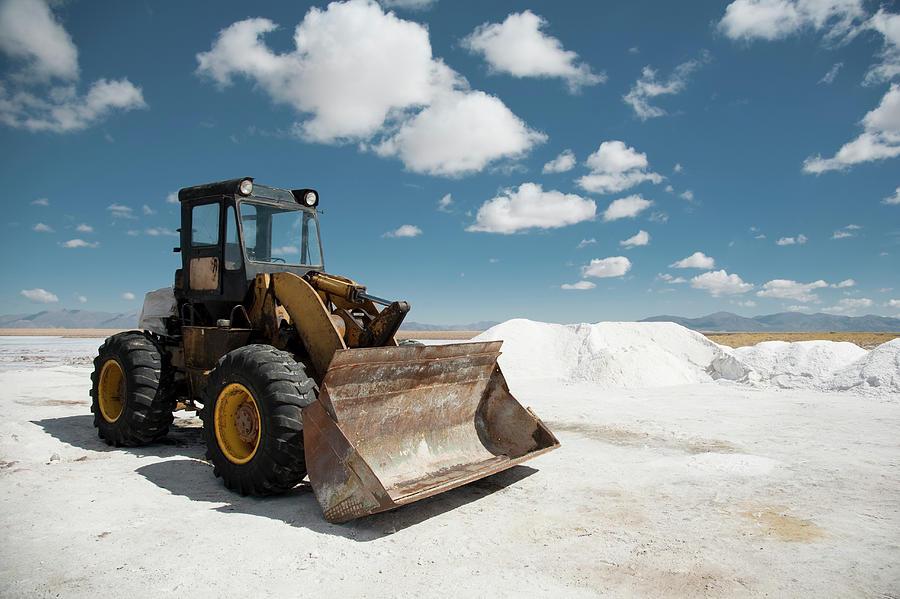 Excavator On Salt Flat Photograph by Kathrin Ziegler