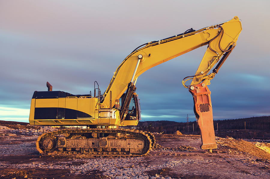 Excavator With Rock Hammer Photograph by Shaunl