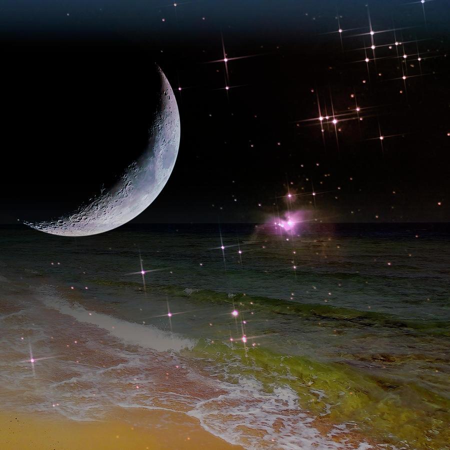 Exciting Dreamland Night By The Seashore by Johanna Hurmerinta