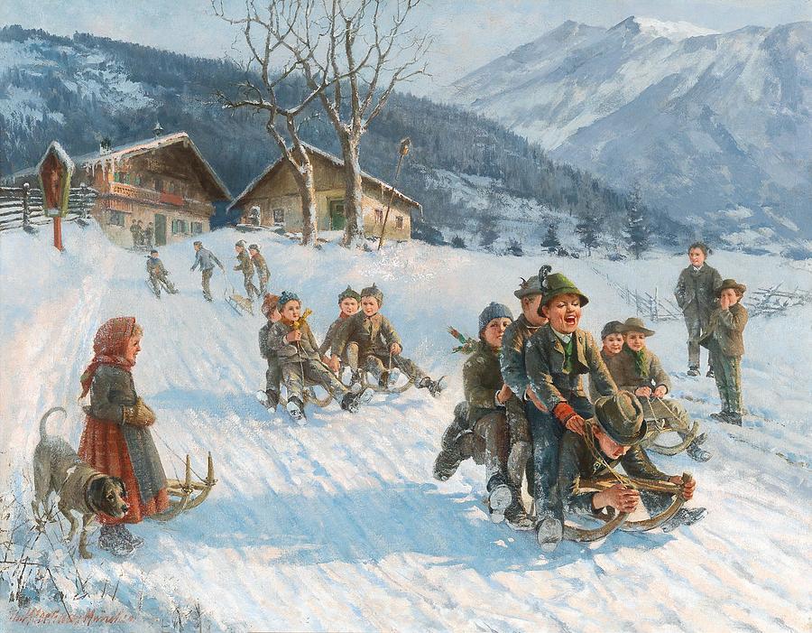 Painting Painting - Exciting Toboggan Ride by Theodore Kleehaas