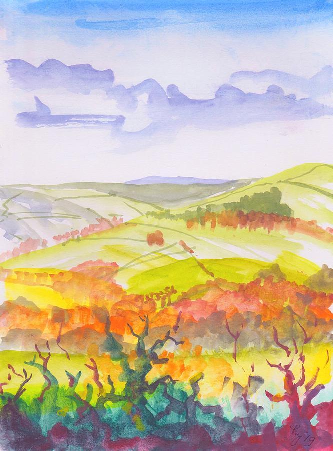 Exe Valley En Plein Air Sketch by Mike Jory