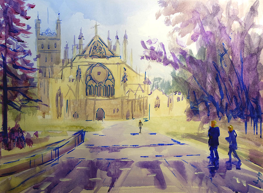 Exeter Cathedral Watercolour Painting by Mike Jory