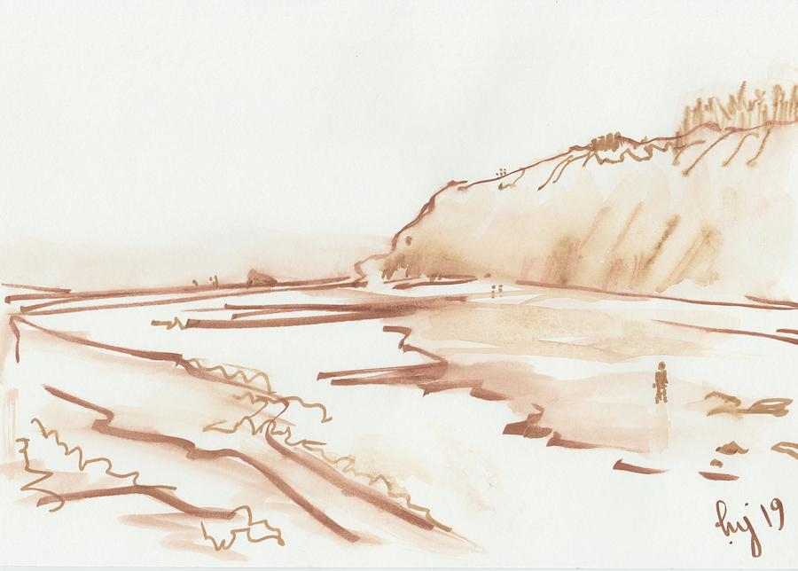 Exmouth beach monochrome watercolor study by Mike Jory