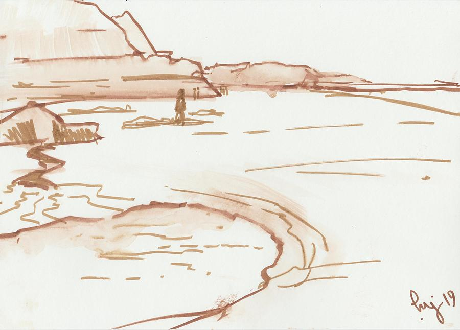 Exmouth beach watercolour sketch by Mike Jory