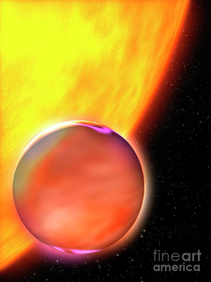 Exoplanet Photograph - Exoplanet Hd 189733b And Its Parent Star by Nasa/esa/stsci/science Photo Library