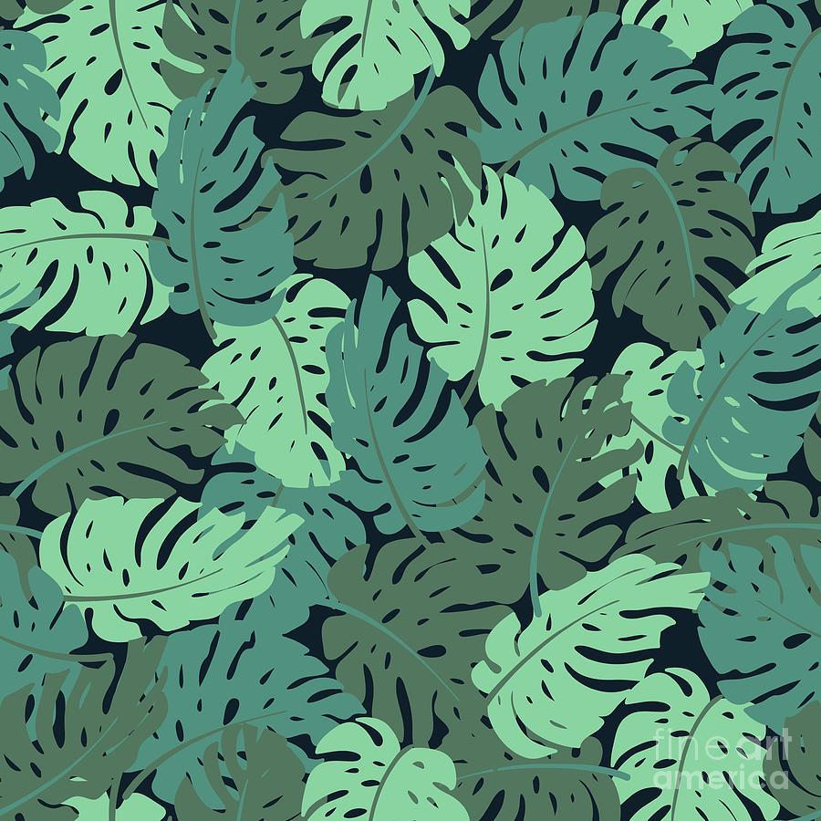 Exotic Leaves, Rainforest. Seamless Digital Art by Utro na more