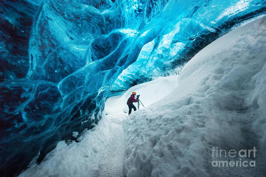 Beauty Photograph - Explorer Inside Ice Cave At Vatnajokull by Bon Appetit
