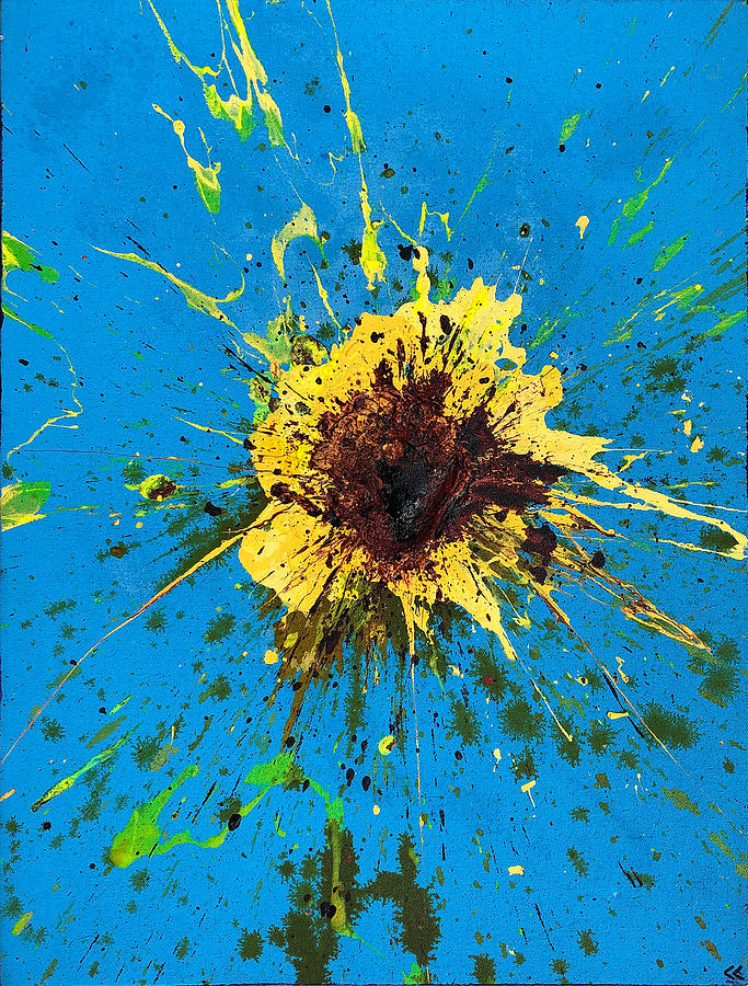 Yellow On Blue Painting - Explosion in Yellow #3 by Chris Crewe