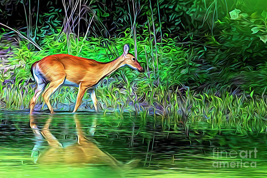 Expressionist Deer Digital Art