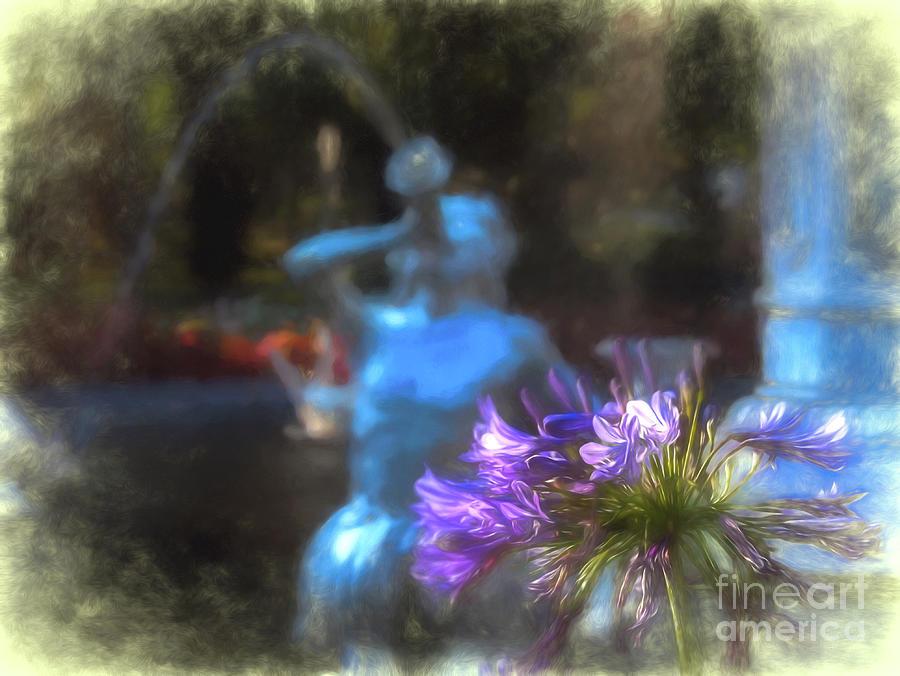 Forsyth Digital Art - Expressive Flower And Fountain At Forsyth Park by Amy Dundon