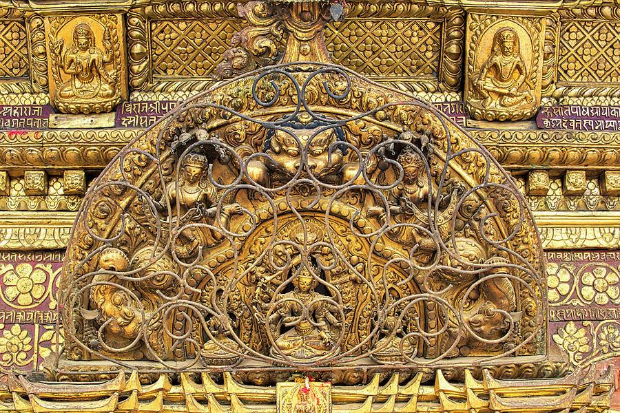 Kathmandu Photograph - Exquisite Buddhist Temple Decoration by Lindley Johnson