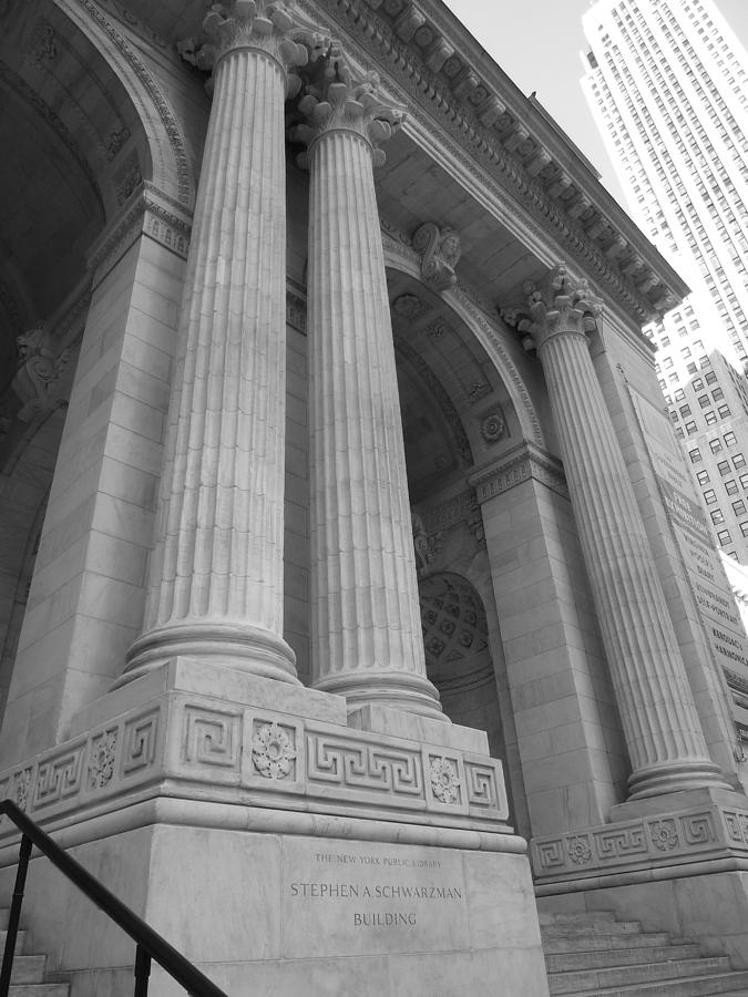 Marble Photograph - Exterior Columns On The New York City Public Library by Patricia Caron