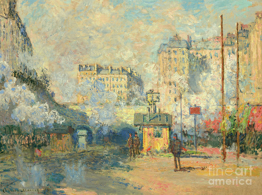 Monet Painting - Exterior Of Saint Lazare Station, Sunlight Effect, 1877 by Claude Monet