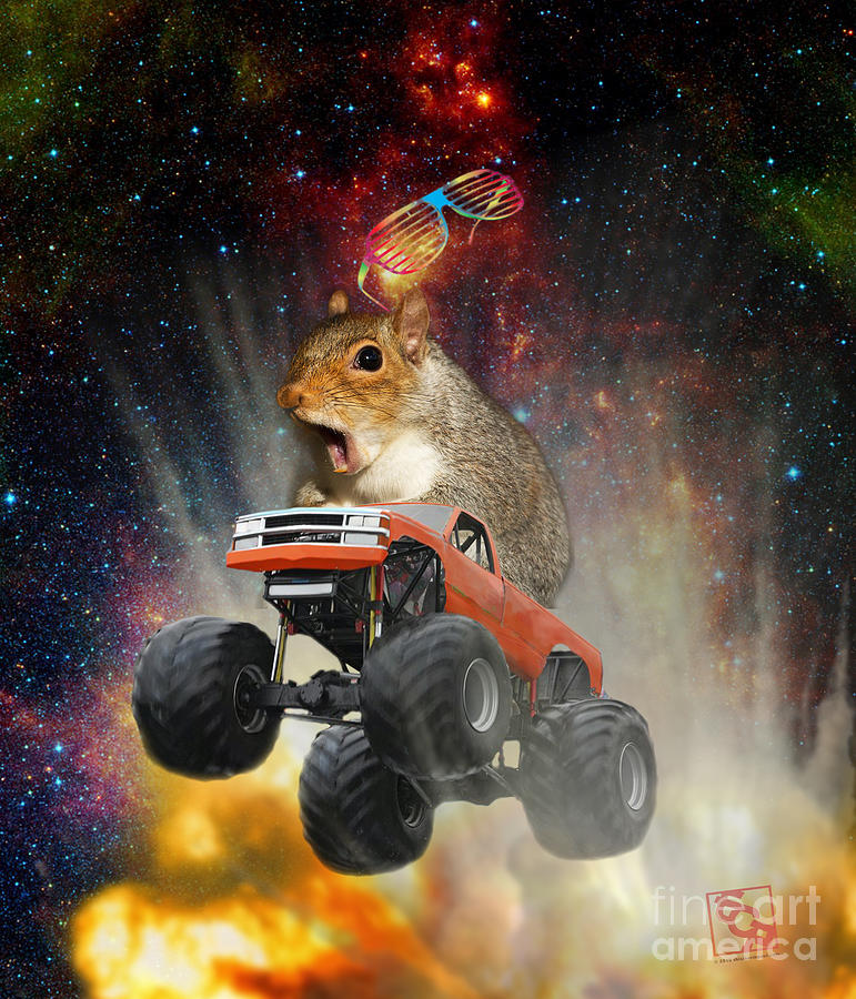 Extreme Crazy Squirrel Driving A Monster Truck Jumping Over An Explosion With Galaxy by Erik Paul